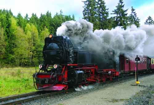 Harz Narrow Gauge Steam Train in clouds of smoke, Germany